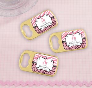 Pink Safari Personalized Baby Shower Bottle Openers - Gold (Printed Epoxy Label)