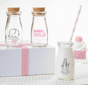 Pink Safari Personalized Baby Shower Glass Milk Bottles (Printed Glass)