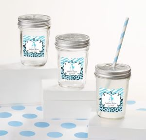 Blue Safari Personalized Baby Shower Mason Jars with Daisy Lids (Printed Label)