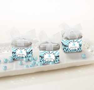 Blue Safari Personalized Baby Shower Favor Tins with Bows (Printed Label)