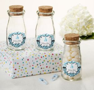 Blue Safari Personalized Baby Shower Glass Milk Bottles with Corks (Printed Label)