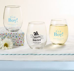 Welcome Baby Boy Personalized Baby Shower Stemless Wine Glasses 9oz (Printed Glass)