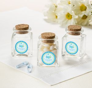 Welcome Baby Boy Personalized Baby Shower Small Glass Bottles with Corks (Printed Label)