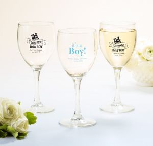 Welcome Baby Boy Personalized Baby Shower Wine Glasses (Printed Glass)
