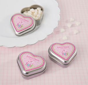 Welcome Baby Girl Personalized Baby Shower Heart-Shaped Mint Tins with Candy (Printed Label)