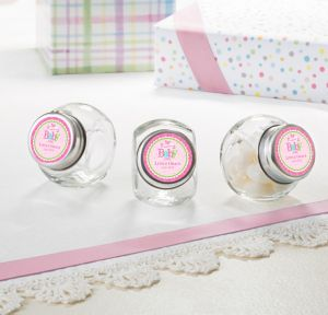 Welcome Baby Girl Personalized Baby Shower Glass Candy Jars (Printed Label)