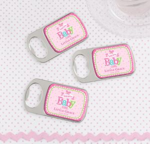 Welcome Baby Girl Personalized Baby Shower Bottle Openers - Silver (Printed Epoxy Label)