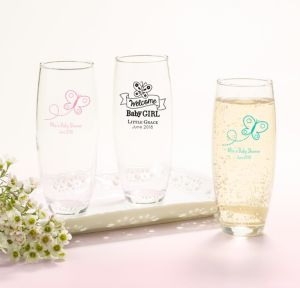 Welcome Baby Girl Personalized Baby Shower Stemless Champagne Flutes (Printed Glass)
