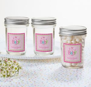 Welcome Baby Girl Personalized Baby Shower Mason Jar with Solid Lid (Printed Label)