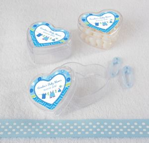 It's a Boy Personalized Baby Shower Heart-Shaped Plastic Favor Boxes (Printed Label)