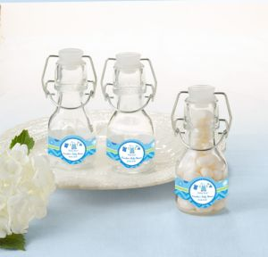 It's a Boy Personalized Baby Shower Glass Swing Top Bottles (Printed Label)