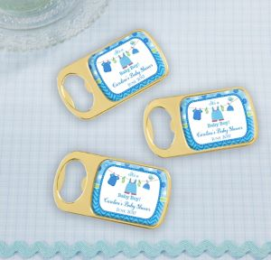 It's a Boy Personalized Baby Shower Bottle Openers - Gold (Printed Epoxy Label)