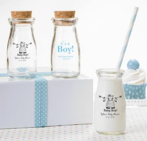 It's a Boy Personalized Baby Shower Glass Milk Bottles (Printed Glass)