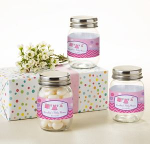 It's a Girl Personalized Baby Shower Mini Glass Mason Jars (Printed Label)