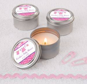 It's a Girl Personalized Baby Shower Candle Tins (Printed Label)