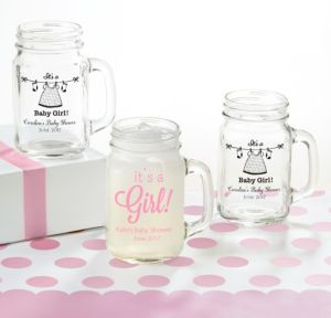 It's a Girl Personalized Baby Shower Mason Jar Mugs (Printed Glass)