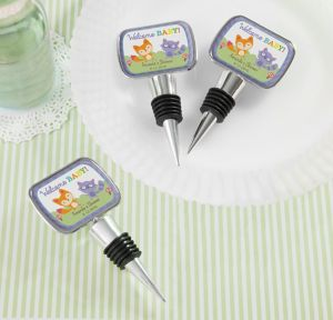 Woodland Personalized Baby Shower Bottle Stoppers (Printed Epoxy Label)