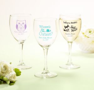 Woodland Personalized Baby Shower Wine Glasses (Printed Glass)