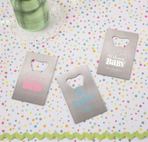 Bright Chevron Personalized Baby Shower Credit Card Bottle Openers - Silver (Printed Metal)