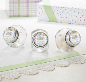 Bright Chevron Personalized Baby Shower Glass Candy Jars (Printed Label)