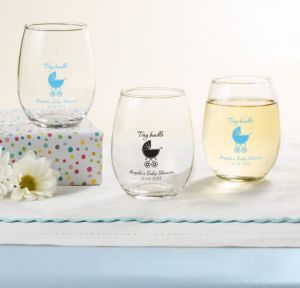 Blue Stroller Personalized Baby Shower Stemless Wine Glasses 9oz (Printed Glass)