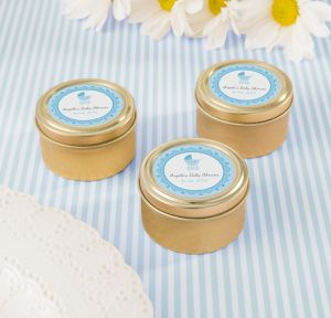 Blue Stroller Personalized Baby Shower Round Candy Tins - Gold (Printed Label)