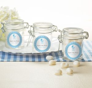 Blue Stroller Personalized Baby Shower Small Glass Jars (Printed Label)