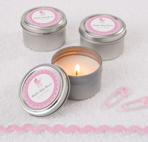 Pink Stroller Personalized Baby Shower Candle Tins (Printed Label)