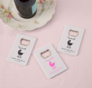 Pink Stroller Personalized Baby Shower Credit Card Bottle Openers - White (Printed Plastic)