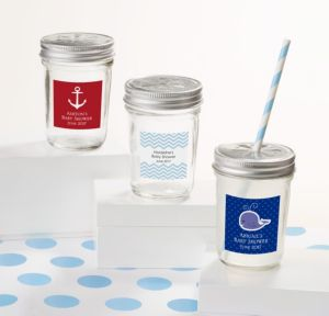Ahoy Nautical Personalized Baby Shower Mason Jars with Daisy Lids (Printed Label)