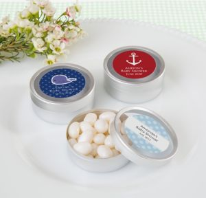 Ahoy Nautical Personalized Baby Shower Round Candy Tins - Silver (Printed Label)