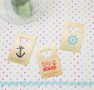 Ahoy Nautical Personalized Baby Shower Credit Card Bottle Openers - Gold (Printed Metal)