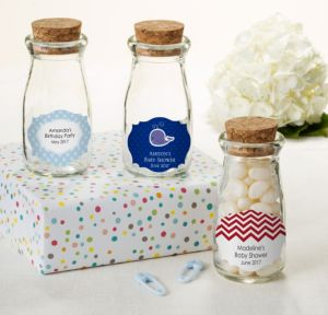 Ahoy Nautical Personalized Baby Shower Glass Milk Bottles with Corks (Printed Label)