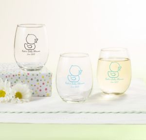 Bubble Bath Personalized Baby Shower Stemless Wine Glasses 9oz (Printed Glass)