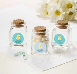 Bubble Bath Personalized Baby Shower Small Glass Bottles with Corks (Printed Label)
