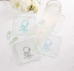 Bubble Bath Personalized Baby Shower Glass Coasters (Printed Glass)