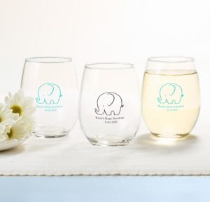 Little Peanut Boy Personalized Baby Shower Stemless Wine Glasses 15oz (Printed Glass)