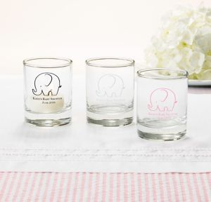 Little Peanut Girl Personalized Baby Shower Shot Glasses (Printed Glass)