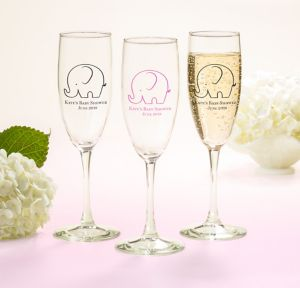 Little Peanut Girl Personalized Baby Shower Champagne Flutes (Printed Glass)