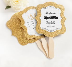 Personalized Gold Glitter Wedding Fans <br>(Printed Label)</br>