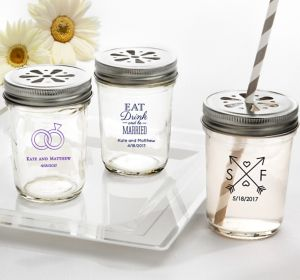 Personalized Mason Jars with Daisy Drink Lids <br>(Printed Glass)</br>