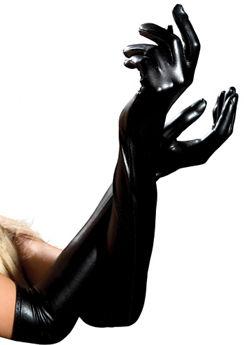 Black Lame Opera Length Gloves