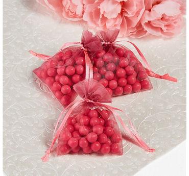 Bright Pink Organza Favor Bags