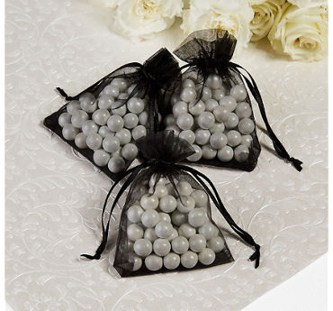 Black Organza Wedding Favor Bags