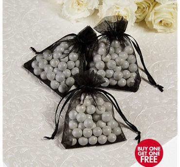 Black Organza Wedding Favor Bags