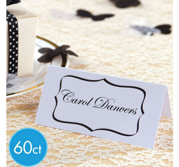 Black & White Wedding Place Cards 60ct