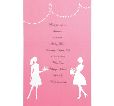 Pink Silhouette Printable Bridal Shower Invitations 12ct