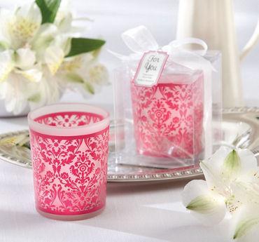 Pink Damask Candle Holder