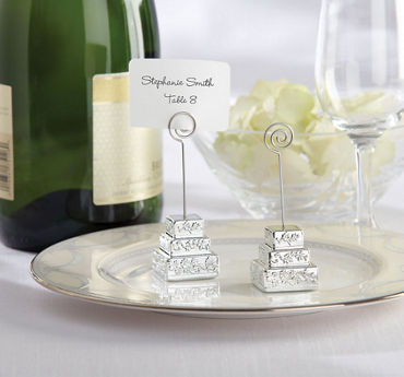 Silver Cake Place Card Holder