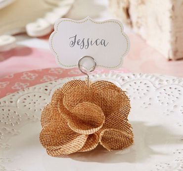 Burlap Rose Place Card Holders